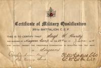 This certificate shows that Sergeant W. Hardy is officially a Sergeant as of June 23, 1915